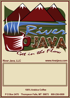 River Java Coffee Package Label